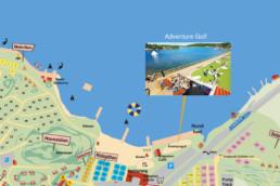 Karta över Lagunen som visar upp Äventyrsgolfen.